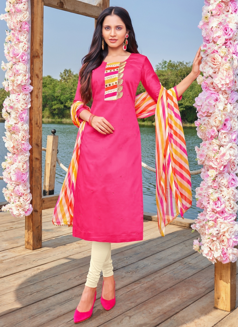 Fantastic Embroidered Hot Pink Cotton Churidar Designer Suit