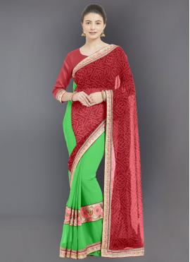 Fantastic Red Designer Half N Half Saree