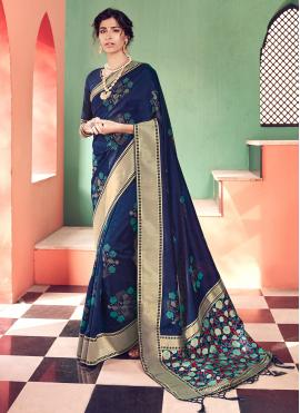 Fascinating Border Navy Blue Banarasi Silk Traditional Saree