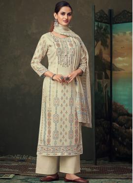Fascinating Cotton Cream Palazzo Suit