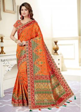 Fascinating Embroidered Art Silk Orange Designer Traditional Saree