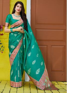 Fascinating Green Weaving Silk Traditional Saree