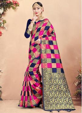 Fascinating Multi Colour Art Banarasi Silk Traditional Saree
