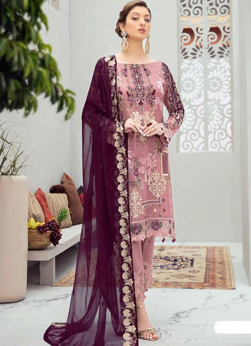Fascinating Pink and Purple Stone Work Net Designer Pakistani Suit