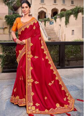 Fascinating Satin Embroidered Red Designer Contemporary Saree