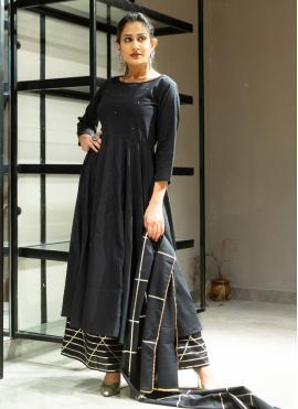 Fashionable Black Lace Designer Palazzo Suit