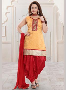 Fashionable Gold Embroidered Chanderi Salwar Kameez