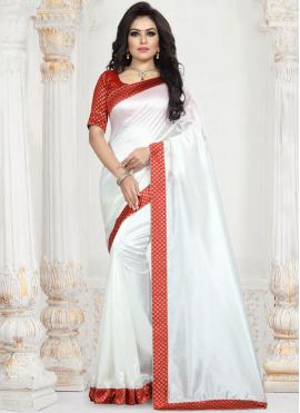 Fashionable Patch Border White Traditional Saree