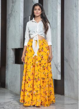 Fashionable White Printed Trendy Lehenga Choli
