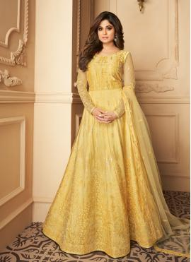 Fashionable Yellow Resham Net Anarkali Salwar Kameez