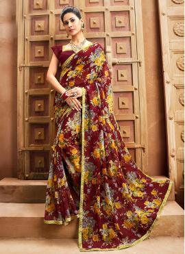 Faux Chiffon Bollywood Saree in Maroon