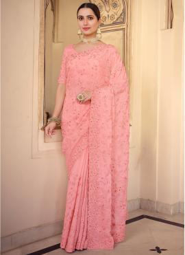 Faux Chiffon Classic Saree in Pink