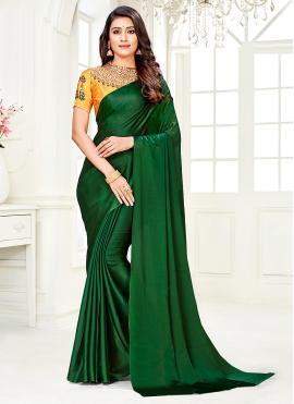 Faux Chiffon Diamond Trendy Saree in Green