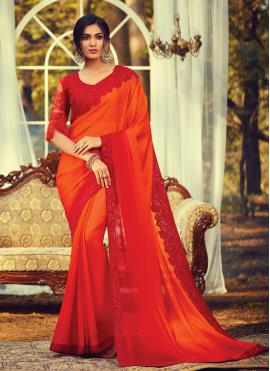 Faux Chiffon Embroidered Orange Bollywood Saree