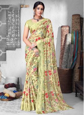 Faux Chiffon Floral Print Multi Colour Saree