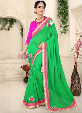 Faux Chiffon Green Classic Saree