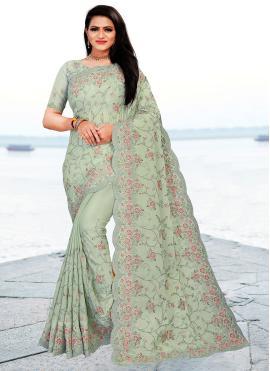 Faux Chiffon Green Embroidered Classic Designer Saree