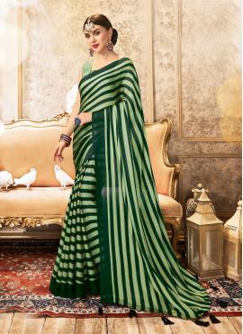 Faux Chiffon Green Printed Saree