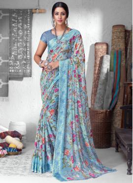 Faux Chiffon Multi Colour Floral Print Saree