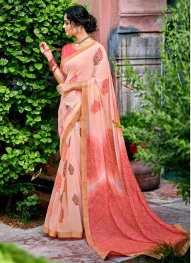 Faux Chiffon Printed Saree in Pink