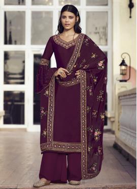 Faux Chiffon Resham Designer Pakistani Salwar Suit in Wine