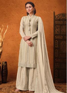 Faux Chiffon Sequins Beige Designer Palazzo Suit