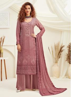 Faux Chiffon Sequins Pink Designer Palazzo Suit