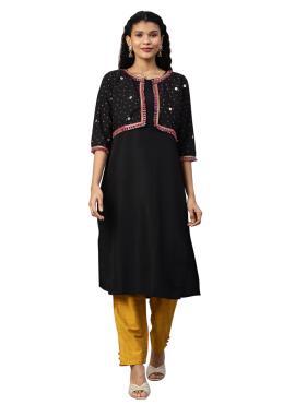 Faux Crepe Black Salwar Kameez