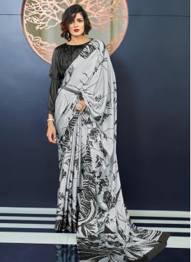 Faux Crepe Printed Classic Saree in Grey