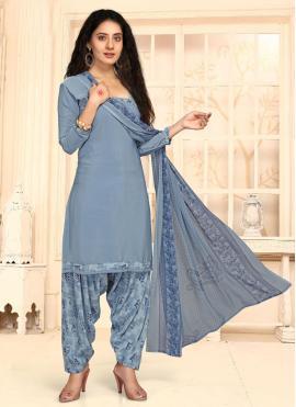 Faux Crepe Punjabi Suit in Blue