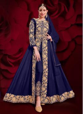 Faux Georgette Anarkali Suit in Blue