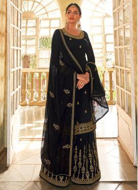 Faux Georgette Black Embroidered Designer Pakistani Salwar Suit