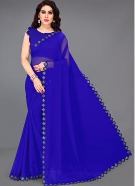 Faux Georgette Blue Trendy Saree