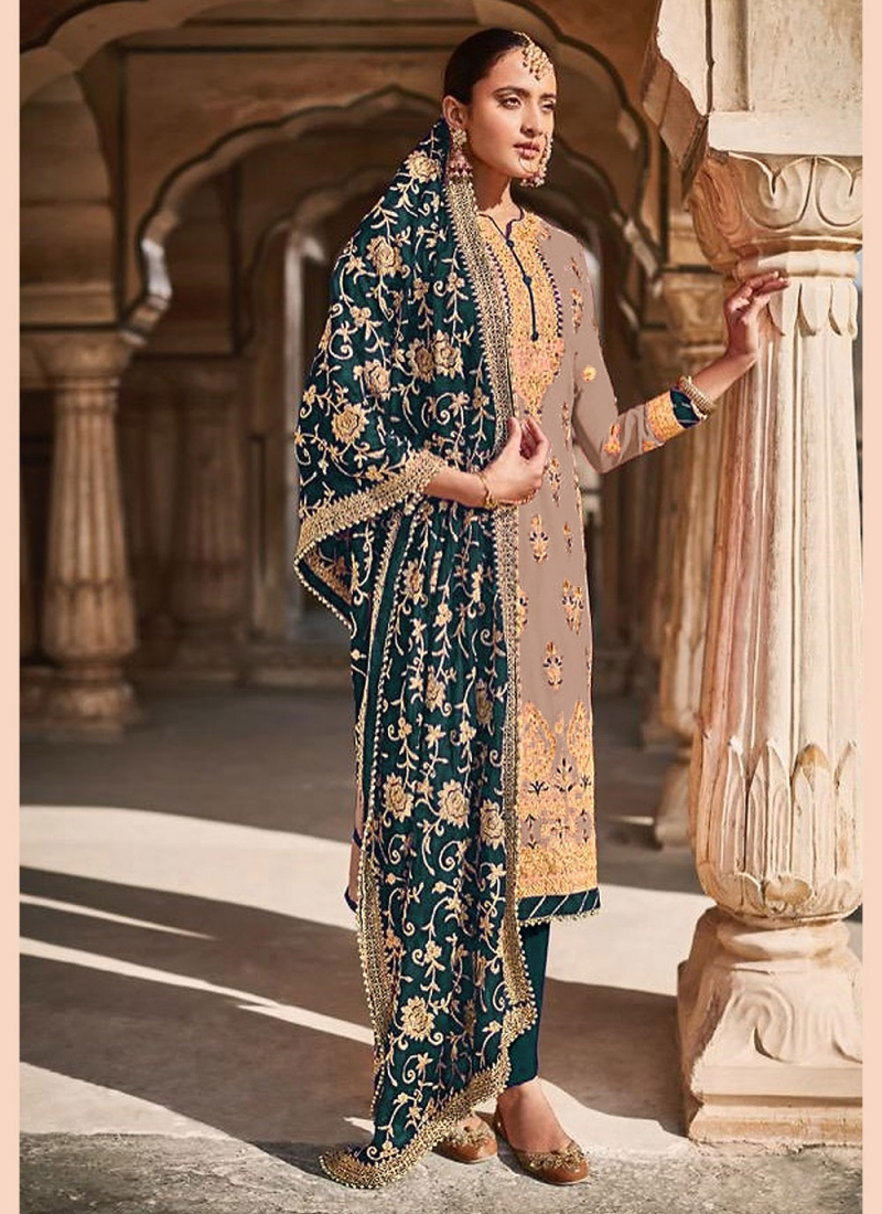 Faux Georgette Brown Embroidered Designer Straight Suit