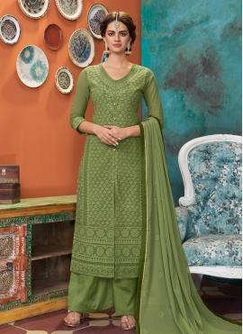 Faux Georgette Designer Suit in Green
