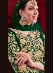 Faux Georgette Embroidered Anarkali Suit in Green - 1