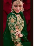 Faux Georgette Embroidered Anarkali Suit in Green - 2