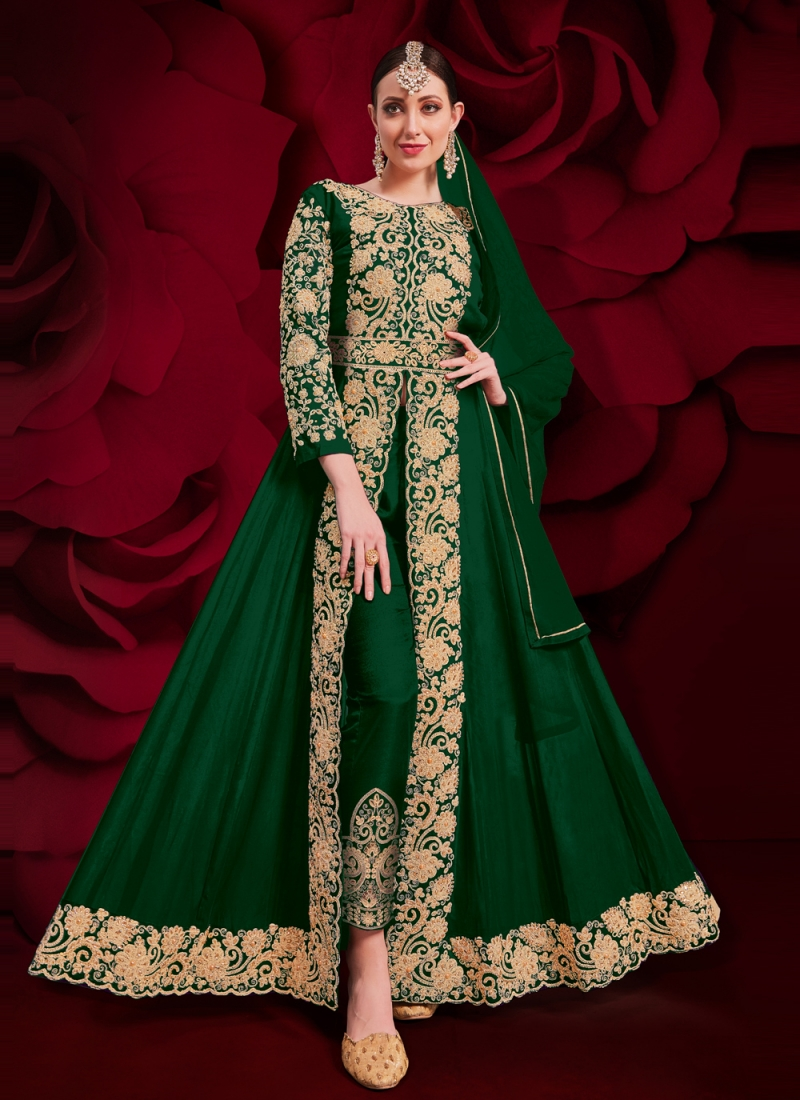 Faux Georgette Embroidered Anarkali Suit in Green