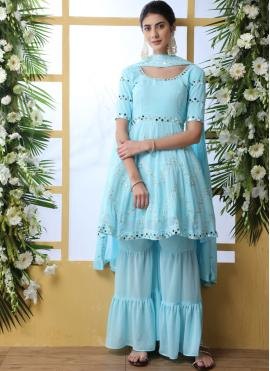 Faux Georgette Embroidered Aqua Blue Palazzo Salwar Suit