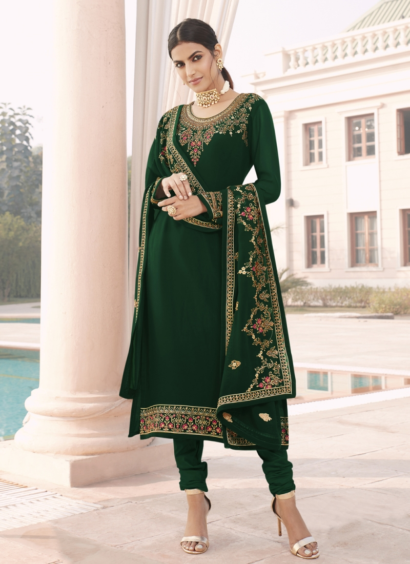 Faux Georgette Embroidered Designer Straight Suit in Green