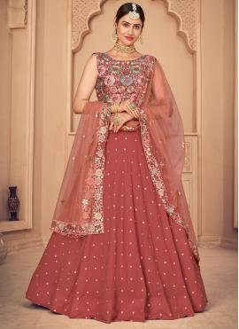Faux Georgette Embroidered Lehenga Choli in Pink