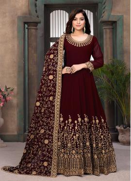 Faux Georgette Embroidered Maroon Floor Length Anarkali Salwar Suit