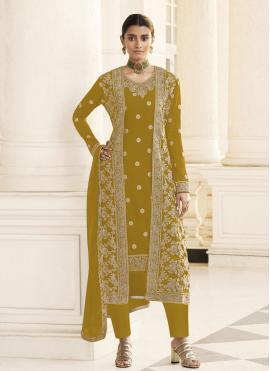 Faux Georgette Embroidered Mustard Designer Pakistani Suit