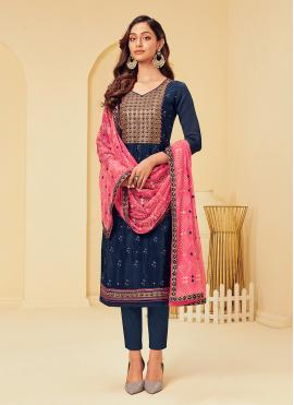 Faux Georgette Embroidered Navy Blue Pant Style Suit