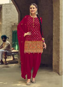 Faux Georgette Embroidered Patiala Salwar Suit in Rani