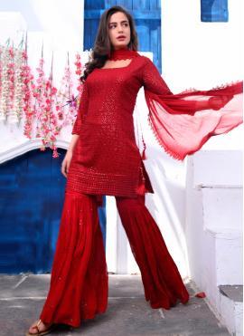 Faux Georgette Fancy Readymade Suit in Maroon