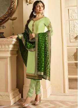 Faux Georgette Green Embroidered Churidar Designer Suit