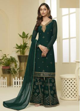 Faux Georgette Green Embroidered Designer Palazzo Suit