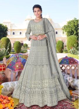 Faux Georgette Grey Readymade Anarkali Suit