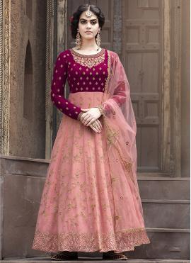 Faux Georgette Lace Floor Length Anarkali Suit in Pink